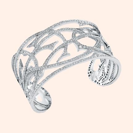 18k White Gold Fantasie White Diamond Cuff (6.22 tcw)