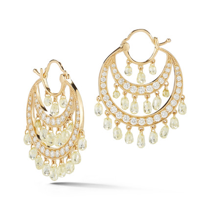 18k Yellow Gold Earrings with Fancy Yellow Diamond Briolettes (6.54 tcw) and White Diamonds (1.33 tcw)