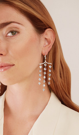18k White Gold Pagoda shape Thorn Earring with Moonstone (11.68 tcw) and Aquamarine (11.60 tcw) with Diamonds (0.71 tcw)
