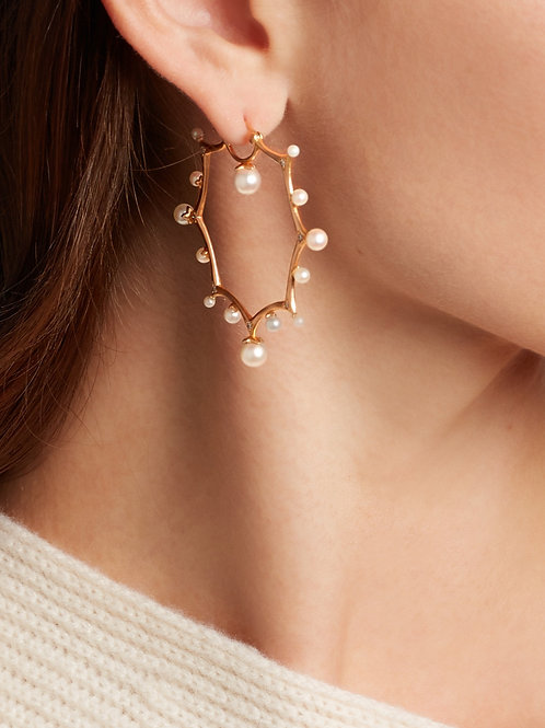 18k Yellow Gold Earrings with Pearls and Diamonds