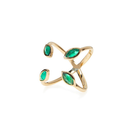 18k Yellow Gold Marquis Emerald (1.03 tcw) Ring