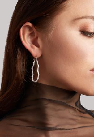 18k White Gold Large Fantaisie Diamond Hoop Earrings (1.76 tcw)