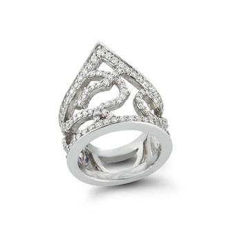 18k White Gold Pagoda Ring White Diamond