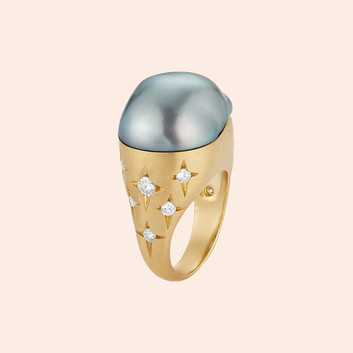 18k Rose Gold Ring with Pearl