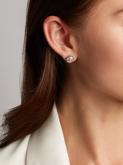 18k Rose Gold Stud Earrings with Grey Keshi Pearls and Diamonds