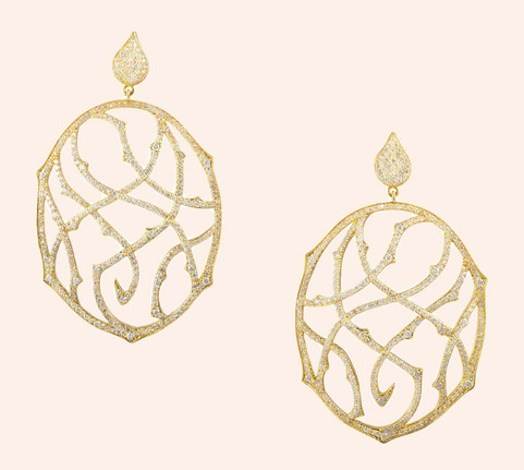 18k Gold Fantaisie Earrings with Diamonds (4.73 tcw)