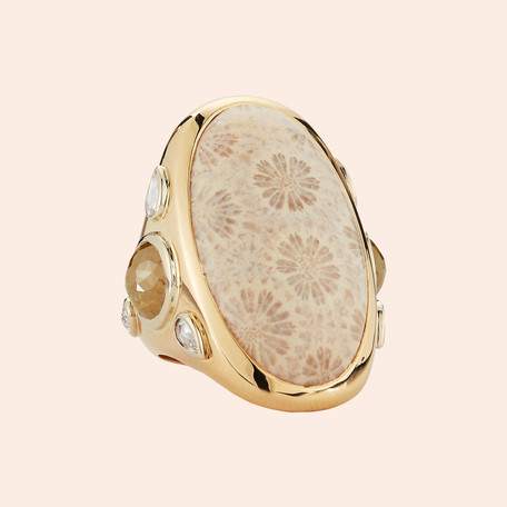 18k Yellow Gold Fossilized Coral Ring with Yellow (2.61 tcw) and White Diamonds (0.43 tcw)