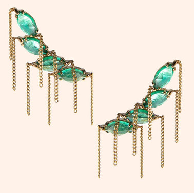 18k Yellow Gold Bohemian Ear Climbers with Emeralds
