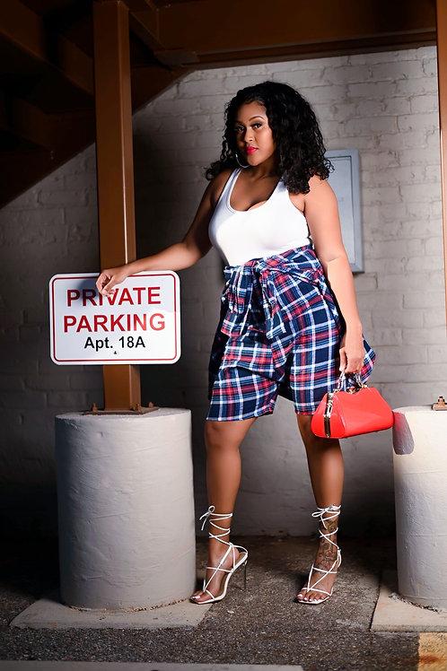 Aaliyah Plaid Shorts (Navy/Red)