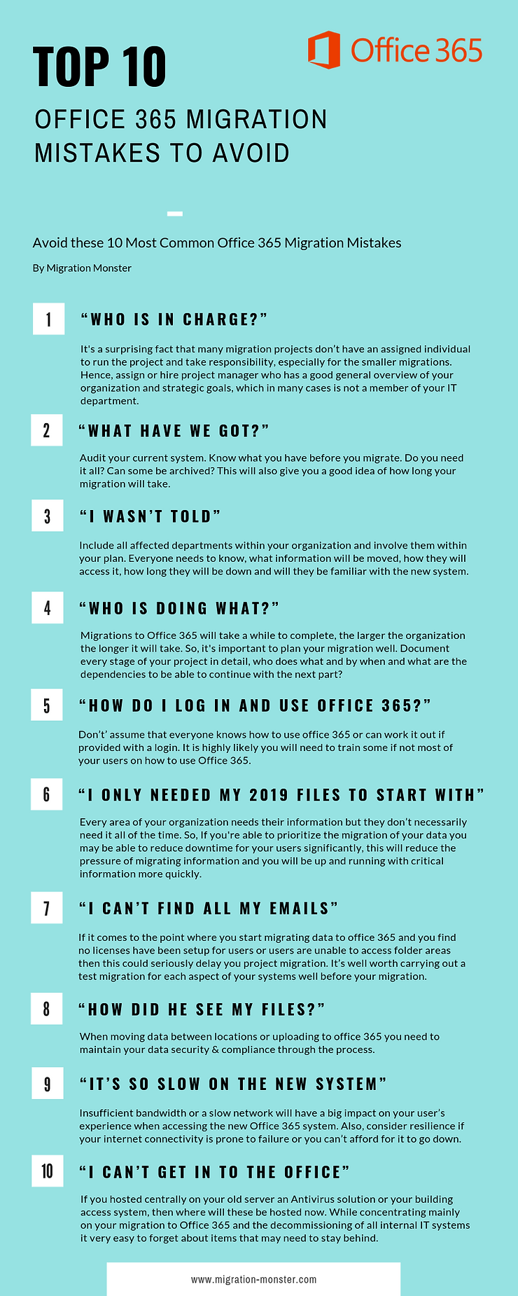 Avoid these 10 Most Common Office 365 Migration Mistakes