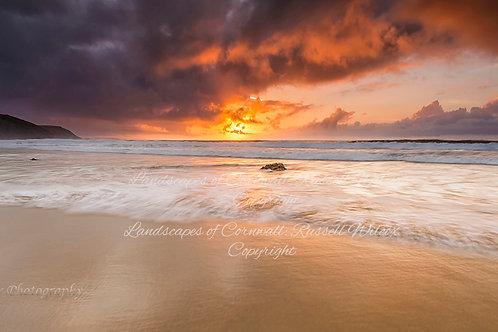 Spectacular sunset over Pothtowan beach