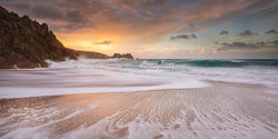 Porthcurno sunset-pano