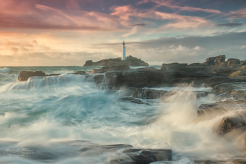 copy of Storm waves at Godrevy landscape