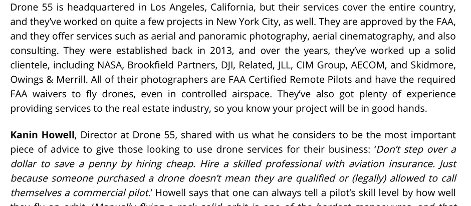 """Metro Manhattan Office Space: """"Check Out Some of the Best Drone Companies"""""""