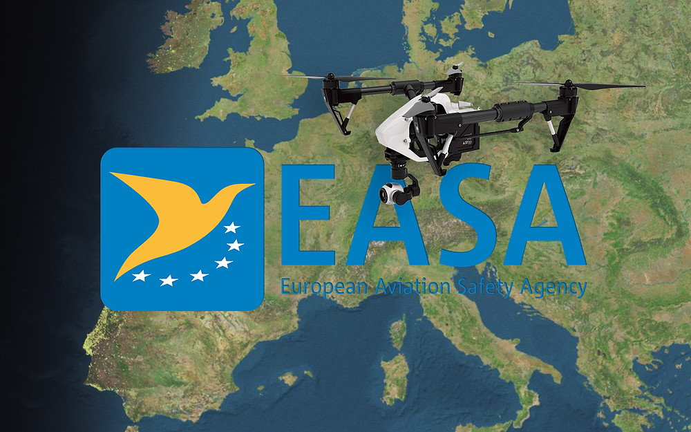EASA european aviation safety agency with DJI inspire 1 on map of europe