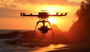 octocopter drone beach sunset