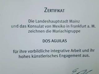 Urkunde zur Anerkennung der integrativen & künstlerischen Arbeit