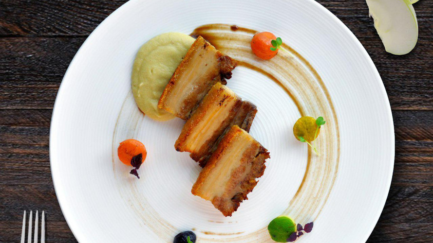 Pan-seared and glazed Pork Belly
