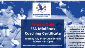 Female only FFA MiniRoos Coaching Certificate - Tuesday 14 July