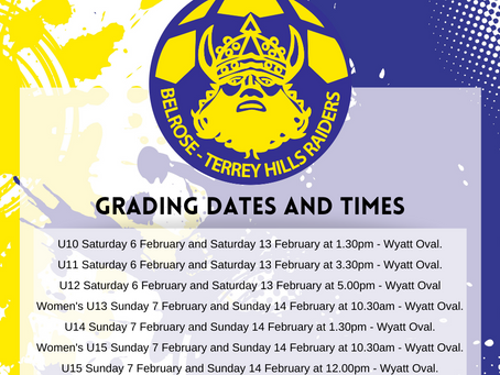 REMINDER: Grading dates and times for juniors and subjuniors COMMENCE THIS WEEKEND