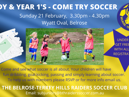 KIndy & Year 1s - COME TRY SOCCER... IT'S FREE!