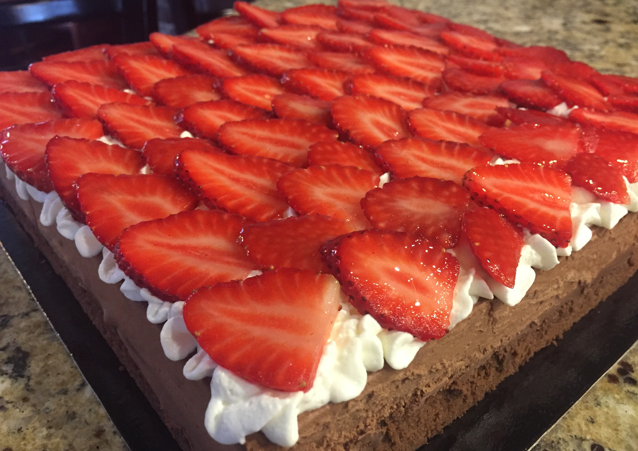 Royal Chocolate Mousse Cake with Strawberries
