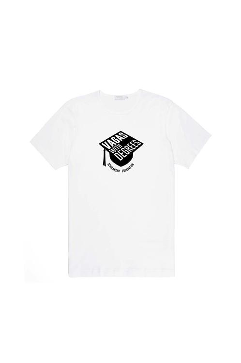 Unisex White Tee: VAGAS with Degrees Logo