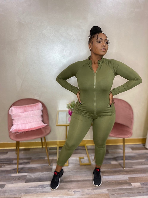 'Back To The Baesics' Two Piece (Army Green)