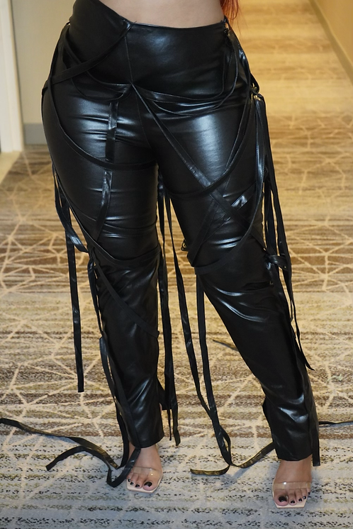'Give Em Hell' Faux Leather Pants