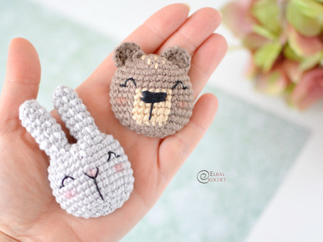 Bunny and Bear Brooches Free Crochet Pattern