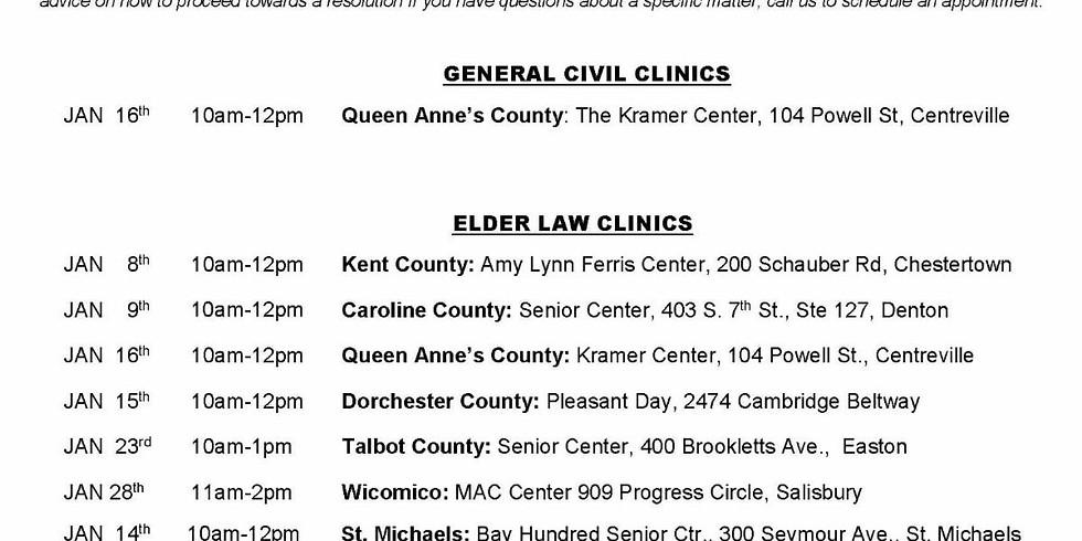 Free Legal Clinic Sponsored by Mid Shore Pro Bono