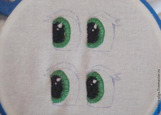 Satin stitch eyes tutorial