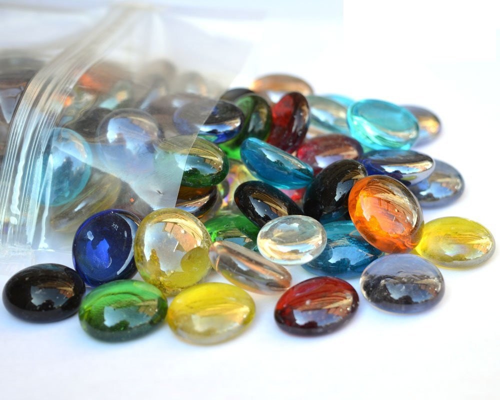 Glass pebbles used in fish tanks