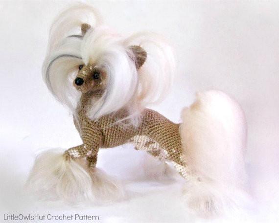 Chinese Crested Dog Amigurumi Dog Chirkova LittleOwlsHut