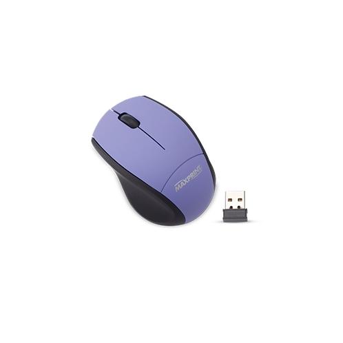 Mouse Maxprint Ótico Emborrachado 800DPI com conexão USB - Preto/Roxo