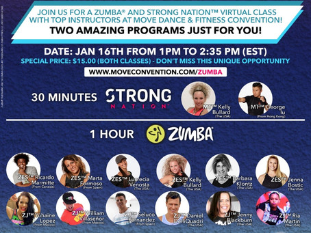 Join The Zumba® & Strong Nation™ Virtual Class at the M.O.V.E. Convention, Jan 16, 2021