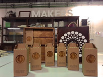 fruit box, upcycling, OMA, wine box, fablab, reclaimed wood, LED bulb, process, behind the scenes