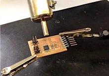 OMA, fablab, Lisbon, electronics, fabkit, PCB, solder paste, heat gun, arduino, micro-circuit
