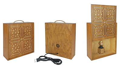 azenhas OMA, upcycling, lamp, light box, LED, eco-design, wine box, crochet pattern, arabic pattern, sustainability, reclaimed wood, Portuguese traditional pattern, Portugal, made in lisbon