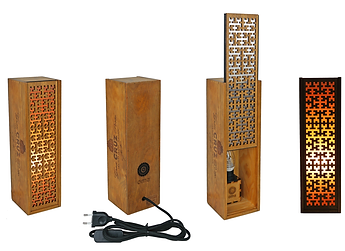 shaman single OMA, upcycling, lamp, light box, LED, eco-design, wine box, crochet pattern, arabic pattern, sustainability, reclaimed wood, Portuguese traditional pattern, Portugal, made in lisbon