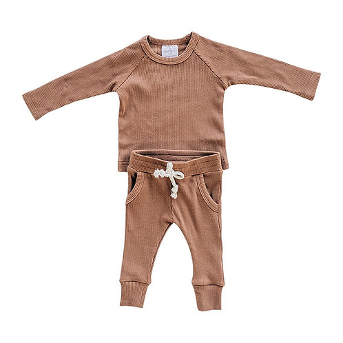 Ribbed Two-piece Cozy Set - Rust
