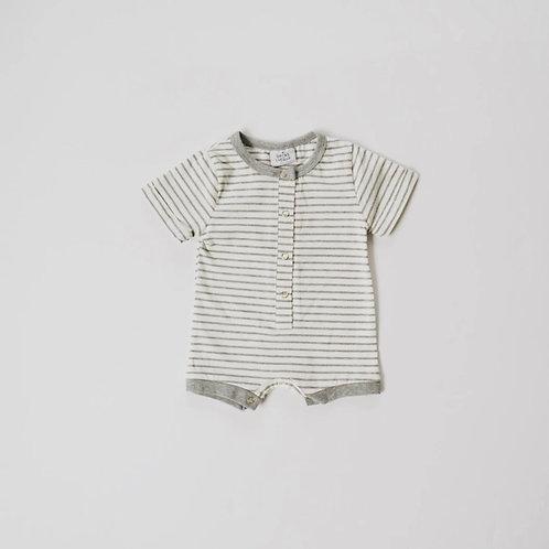 Shortie Romper - Gray Stripe