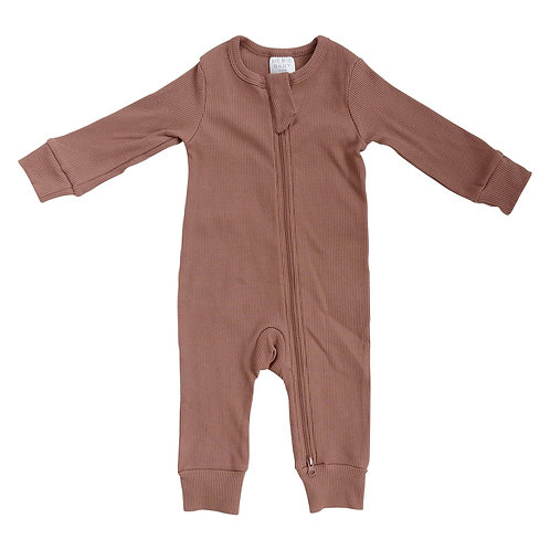 Organic Cotton Ribbed Zipper Footie - Dusty Rose
