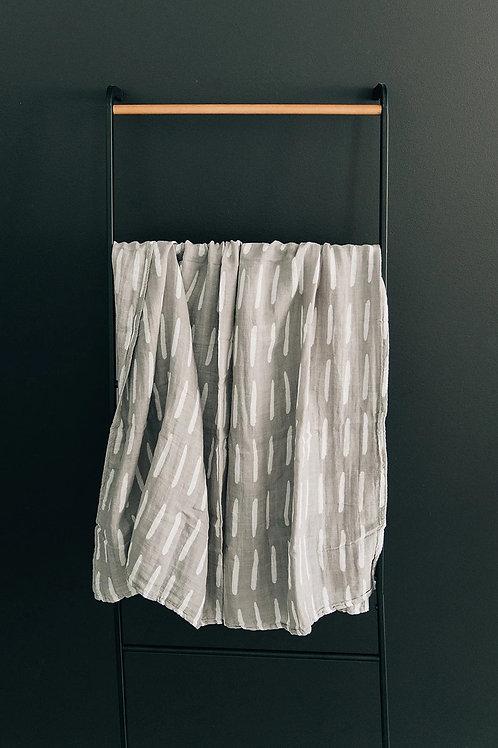 Muslin Swaddle Blanket - Grey Dash