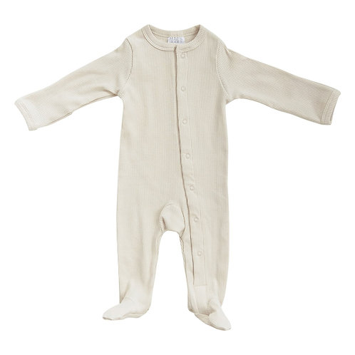 Organic Cotton Ribbed Zipper Footie - Vanilla