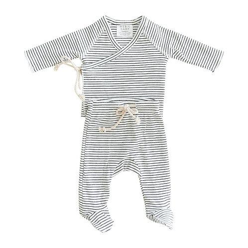 Striped Ribbed Cotton Layette Set - Black + White