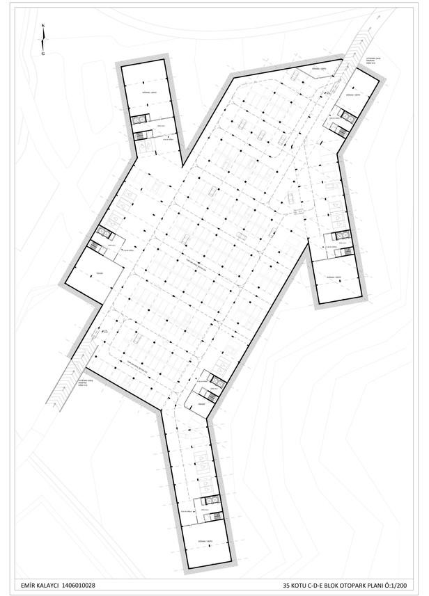 C-D-E Blok Otopark Planı Ö:1/200