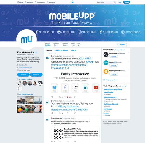 MobileUpp | Twitter Sayfa Tasarımı