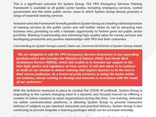 System Group appointed to YPO Framework for Emergency Services Training.