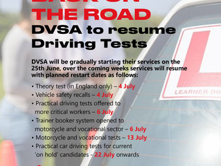 DVSA to resume Driving Tests